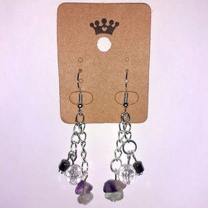 Fluorite, Hematite + Faceted Plastic Bead Earrings